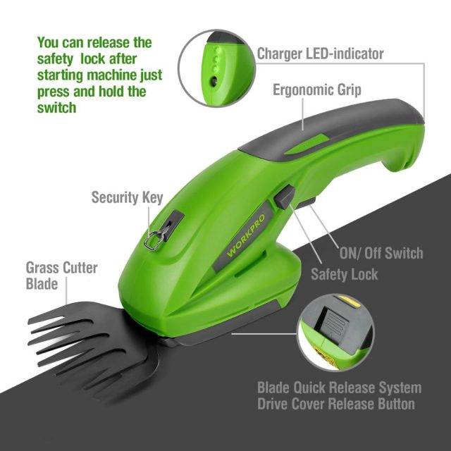 7.2V Electric Trimmer 2 in 1 Lithium-ion Cordless Garden Tools Hedge Trimmer Rechargeable Hedge Trimmers for Grass