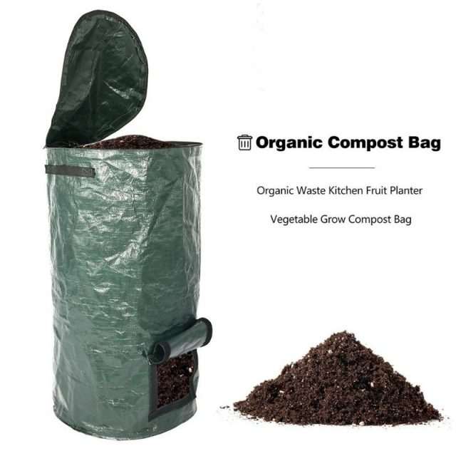Organic Waste Kitchen Garden Yard Compost Bag Environmental PE Cloth Planter Kitchen Waste Disposal Organic Compost Bag