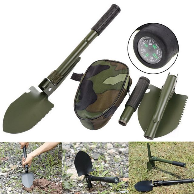 Military Portable Folding Shovel For Survival Multifunction Shovel Stainless Steel Spade Trowel Camping Outdoor Garden Tools
