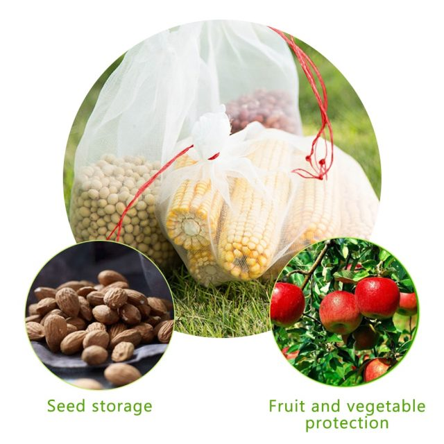 50Pcs/set Garden Netting Bags Vegetable Grapes Apples Fruit Protection Bag Pouch Agricultural Pest Control Anti-Bird Mesh Bags